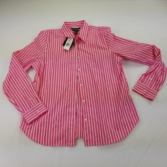 bfa55675 Ralph Lauren Shirt XL Women's Pink White 5055 NWT
